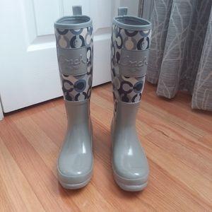 Coach Pearl gray rain boots